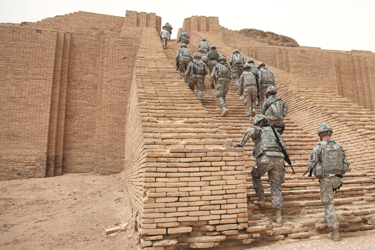 """U.S. Soldiers...make their way up the reconstructed stairs of the Ziggurat of Ur, Iraq...""  Photo by Spc. Samantha Ciaramitaro.  Public Domain."
